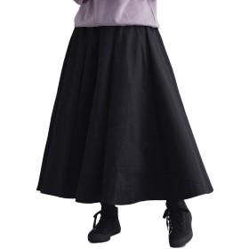 (メルロー) merlot 【IKYU】Aラインコットンギャザーロングスカート ブラック