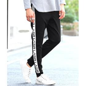 (LUXSTYLE/ラグスタイル)ポンチプリントサイドラインジョガーパンツ/ジョガーパンツ メンズ サイド ライン ロゴ/メンズ ブラック