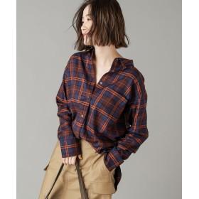 RIVE DROITE(リヴドロワ) レディース 【手洗い可】ドレーピーチェックシャツ ブラウン