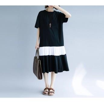 [55555SHOP]ワンピース /韓国ファッション レディースワンピース/ シャツワンピース /ワンピース 夏 /ロング ワンピースント/大きいサイズ