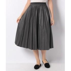 (MELROSE Claire/メルローズ クレール)エコレザープリーツスカート(ウエストフルゴム仕様)/レディース グレー
