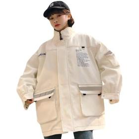 Alppvレディース ジャンパー ブルゾン コート ジャケット アウター 春 バイカラー ゆったり 綿 防風 BF風 韓国風 ファッション カジュアル ゆったり コートT3