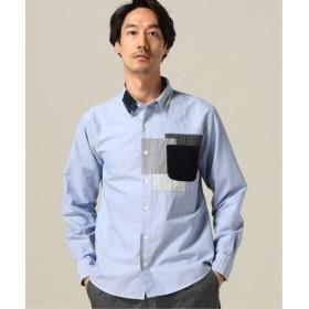 B.C STOCK オックスパッチワークシャツ サックスブルー M