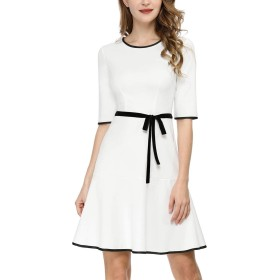 Allegra K 白 Aラインワンピース フレア ハーフスリーブ ウェストリボン フリル裾 ドレス ホワイト M