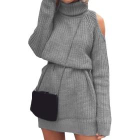 sayahe 女性カットアウトニット編み半ばの長いハイカラーセータードレス Grey XS