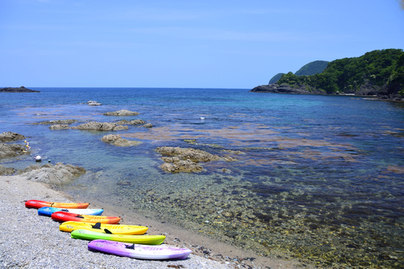 海岸に並ぶカラフルなカヌー