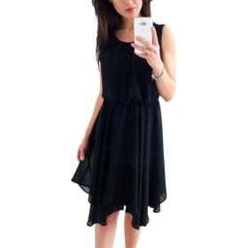 YACUN 女性の夏のカジュアルなミニノースリーブカクテルドレス Black XL
