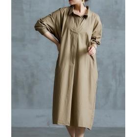 【ゆったりワンサイズ】スキッパー衿ロングシャツワンピース (ブラウス)Blouses, Shirts, 衫, 襯衫