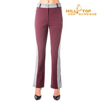 【hilltop山頂鳥】女款超撥水保暖彈性長褲H31FK2暗紅