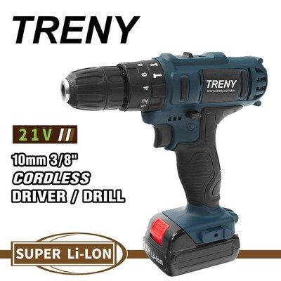 【呆呆福利社】(福利品) TRENY 21V 鋰電雙速震動起子機 電鑽 起子機 維修工具 修繕 家庭DIY 2291