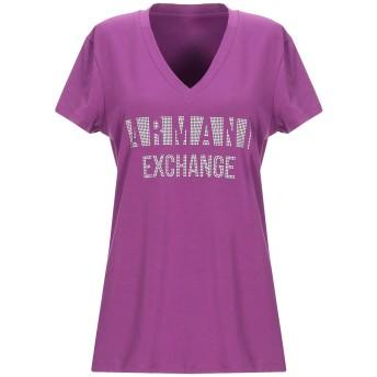 《9/20まで! 限定セール開催中》ARMANI EXCHANGE レディース T シャツ モーブ XS コットン 92% / ポリウレタン 8%