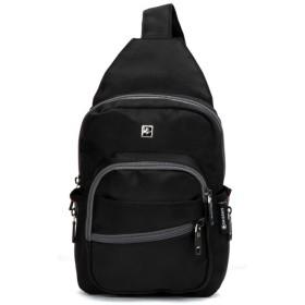 SWISSWIN SWK1005N ショルダーバッグ メンズバッグ レディースバッグ ボディーバッグ 防水バッグ 斜めがけバッグ 人気 高校生 大学生 おしゃれ 通勤 通学 旅行スクールバッグ 男女兼用 (ブラック)