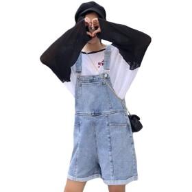 [YYQ-SHOP]デニム サロペット 短パン レディース ゆったり ショートパンツ ポケット付き ファッション オールインワン ハイウェスト おしゃれ 韓国風 ハーフパンツ 原宿系 可愛い 夏(4ブルー)