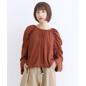 メルロー ボリュームスリーブ楊柳ブラウス レディース オレンジ FREE 【merlot】