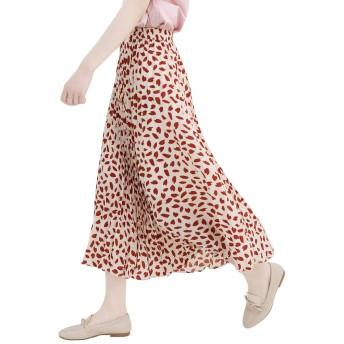 スカート ロング レディース aライン フリル フレア チェック プリーツ赤花柄 プリーツ ハイウエスト 台形 スリム 膝丈 インナー付き 裏地つき ふんわり ふわふわ かわいい おしゃれ 韓国装 フリーサイズ ウエストゴム