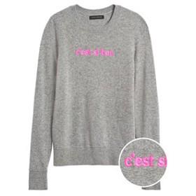 【バナナ・リパブリック:トップス】イタリアン メリノブレンド 刺繍セーター