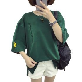 DeBangNi半袖tシャツ 夏 レディース カットソー ゆる 無地 丸首 五分丈 綿 柔らかい tシャツ カットソー 可愛い 原宿風 グリーンN8
