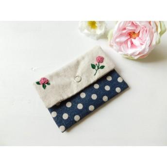 花刺繍のミニポーチ / ローズ