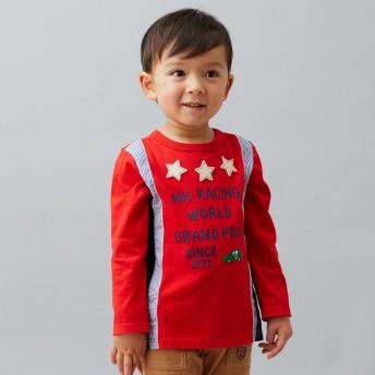 ミキハウス 【アウトレット】異素材使いのレーシングカー長袖Tシャツ 赤