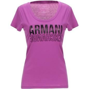 《9/20まで! 限定セール開催中》ARMANI EXCHANGE レディース T シャツ モーブ XS コットン 50% / ポリエステル 50%