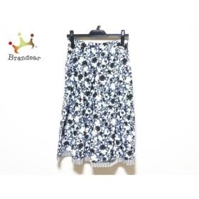 ロイスクレヨン Lois CRAYON スカート サイズM レディース 美品 白×黒×ブルー 花柄/ストライプ 新着 20190902