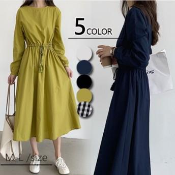 ◆時間限定◆2019春夏人気新品 韓国ファッション 綿 裏地 春夏の 大きいサイズ 半袖 、長袖 ロングワンピ コットンリネン 、ワンピース 、ベルトのワンピース