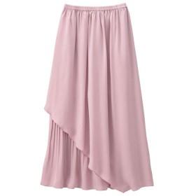 GeeRA 部分プリーツ使いサテンレイヤードスカート ピンク M レディース 5,000円(税抜)以上購入で送料無料 フレアスカート 夏 レディースファッション アパレル 通販 大きいサイズ コーデ 安い おしゃれ お洒落 20代 30代 40代 50代 女性 スカート