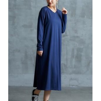 【ゆったりワンサイズ】共布ベルト付ゆったりマキシ丈ワンピース (ワンピース)Dress, 衣裙, 連衣裙