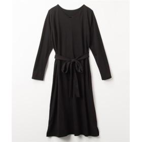 【ゆったりワンサイズ】共布ベルト付ゆったりマキシ丈ワンピース (ワンピース),dress