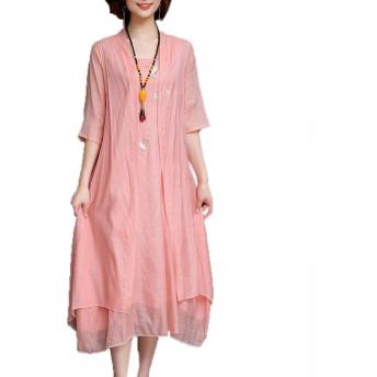 「美しいです」民族風 ワンピース レディース 刺繍 綿麻 ワンピース 体型カバー ロングワンピース リネン マキシワンピース ピンクXL
