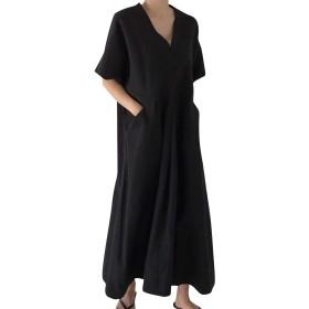 Binse ワンピース レディース マキシワンピ 綿麻混 半袖 ロング丈 スリット入り ゆったり 着痩せ 体型カバー カジュアル