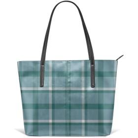 女性PUレザーショルダーバッグ大容量のための青緑の格子縞のトートバッグ
