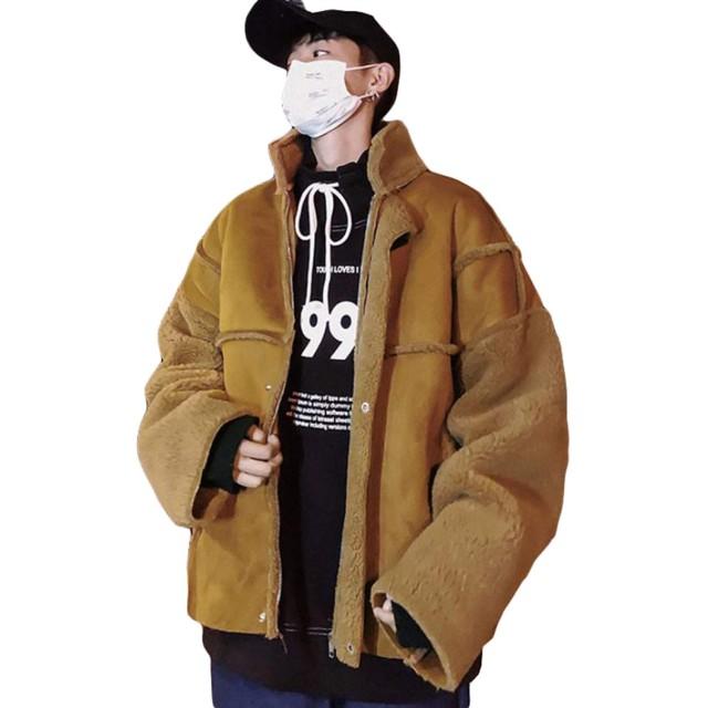 MLbossメンズ ジャケット 裏ボア ゆったり オーバーコート 裏起毛 あったか 防寒服 ショートコート冬服 韓国ジャケット ストリート系 通学 ファッション(Rカーキ)