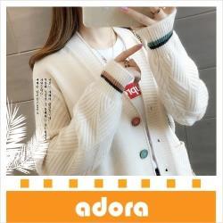 adora 韓版口袋毛衣外套女寬鬆V領長袖針織衫(3色)