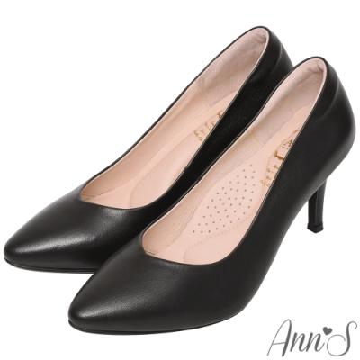 Ann'S  舒適療癒系 V型美腿綿羊皮尖頭跟鞋 黑