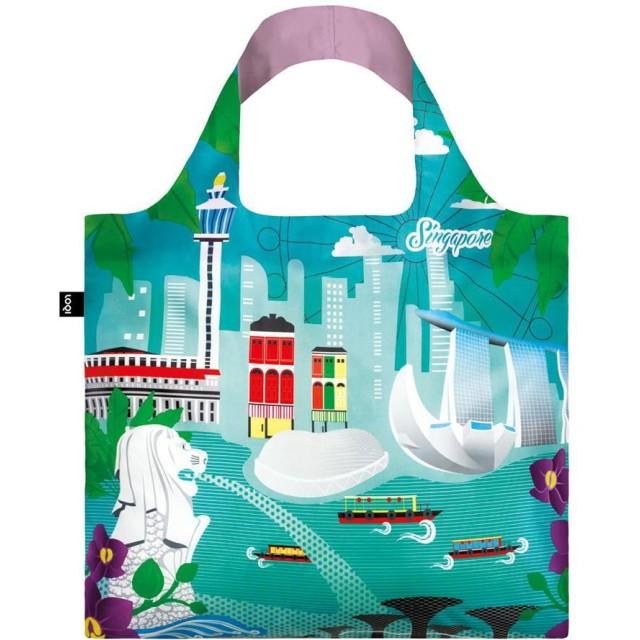 (ローキー)LOQI 折りたたみ エコバッグ ECO BAGS ポーチ付き 大サイズ URBAN Singapore【ART/URBAN【03】-a】