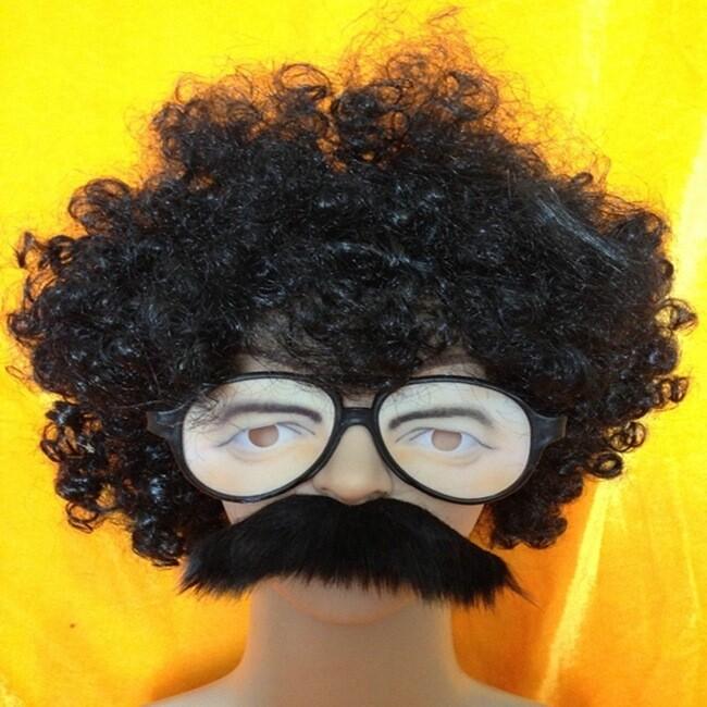 爆炸頭 兩津勘吉 搞笑人物裝扮 假髮 眼鏡 鬍子(三件套餐) 萬聖節 角色扮演 變裝