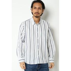 シャツ - ikka 麻混はけめストライプシャツ