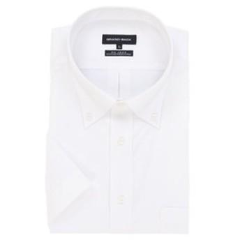【GRAND-BACK:トップス】【大きいサイズ】形態安定レギュラーフィットボタンダウンブロード半袖ビジネスドレスシャツ