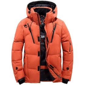 ダウンコート メンズ ダウンジャケット ショット丈 コート フード付き アウトドアウェア 防寒着 防風 アウター (XXL, オレンジ)
