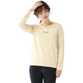 トップス カットソー Tシャツ 長袖 レディース クルーネック ロゴ 春 ボーダー Honeys ハニーズ ロゴ刺繍Tシャツ 587011533645 オフ×イエロー M