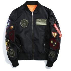 (フッカツ) メンズ 秋冬 綿入り 男女兼用 MA-1 大きいサイズ ブルゾン ジャケット アウター ワッペン 刺繍 ミリタリー カジュアル ストリート スタイル ゆったり かっこいい ブラック5XL