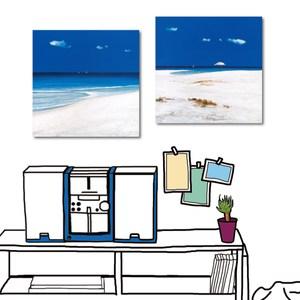 24mama掛畫-二聯式 海邊 白沙灘 夏天 風景無框畫-40x40cm