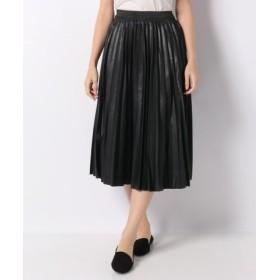 (MELROSE Claire/メルローズ クレール)エコレザープリーツスカート(ウエストフルゴム仕様)/レディース ブラック
