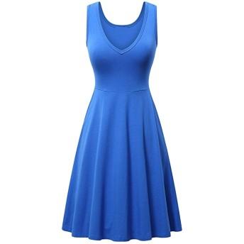 女性カジュアルドレスノースリーブVネック夏ビーチミディチュニックドレス Royalblue 3XL