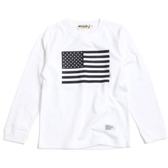 [キャンプフリー] CAMPFREE 星条旗 プリント ロングスリーブTシャツ ボーイズ 子供服 M.H.A.style 10136 A.ホワイト