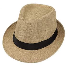 le ciel ストローハット ハット 麦わら カンカン帽 紳士帽子 パナマ帽 春夏 帽子 日焼け防止 UVカット メンズ (ライトブラウン)