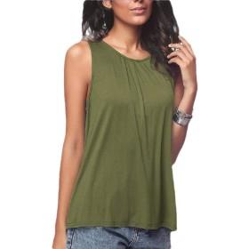 Qiangjinjiu Women's Summer Sleeveless Tank Top Flowy Shirts Tunic Top Army Green 2XL