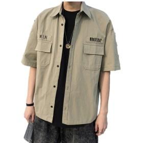 メンズ 半袖 ボタン シャツ ミリタリー 半袖 シャツ カジュアルシャツミリタリーシャツメンズ カーゴ アウター 半袖ミリタリーシャツ 男性着