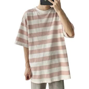 [BSCOOL]Tシャツ メンズ ボーダー柄 半袖tシャツ ゆったり クルーネック カットソー カジュアル ビック シルエット 半袖tシャツ 5分袖 ルームウェア トップス 韓国 ティーシャツ(Bオレンジ)
